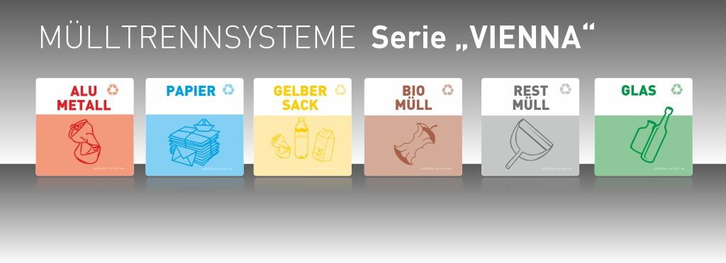 Aufkleber Set Mülltrennsystem Vienna